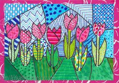 Sparkle art projects for kids Dutch tulips in the style of Romero Britto, by Malou, grade 6 Spring Art Projects, School Art Projects, Art Pop, Arte Elemental, 2nd Grade Art, Grade 3, Ecole Art, Art Lessons Elementary, Middle School Art