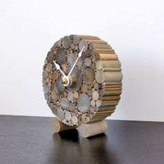 Small Desk Clock, Rustic Chic Home Decor, Minimalist Wood Clock