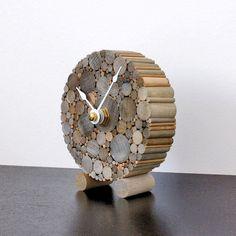 Small Desk Clock, Rustic Chic Home Decor, Minimalist Wood Clock