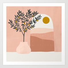 Buy lemon tree Art Print by madelinehostetler Worldwide shipping available at Just one of millions of high quality products available Minimalist Painting, Minimalist Art, Painting Inspiration, Art Inspo, Afrique Art, Watercolor Art, Art Drawings, Art Projects, Illustration Art