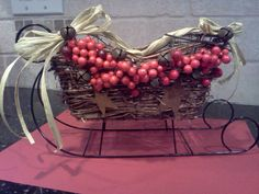 Decorated wicker and black wire sleigh done by me! $10.00