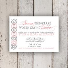 Some Things are Worth Saying Twice Invitation by PetitPapel, $14.00