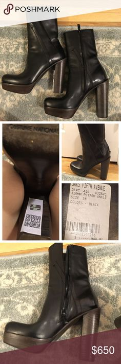 NWT CoSTUME NATIONAL Black Platform Ankle Boots New with tags- CoSTUME NATIONAL black leather boots with an ankle length shaft and a side zipper closure. Platform bottom heel. Are of wood and are a size 36. Retail for $949 and over $1,100 online. Don't miss these beauties there are nothing like these babies on posh!! Does not come with original box but will be wrapped extra securely and padded in a proper shoe storing box. Costume National Shoes Ankle Boots & Booties