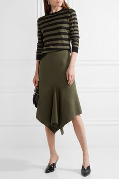 Army-green stretch wool-blend Slips on 56% wool, 24% silk, 18% nylon, 2% spandex Dry clean Designer color: Tuscan Olive