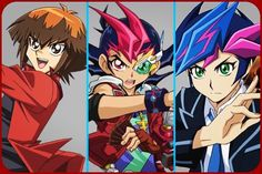 I've Always Considered 3 Of The 6 Main Yu-Gi-Oh! Protagonists (Original: Yugi Mutou/ Yami Yugi, 5D's: Yusei Fudo & Arc V: Yuya Sakaki) To Be My Primary Favourites & With The Introduction Of Yusaku Fujiki In VRAINS, I've Considered Him To Be My 3rd Secondary Favourite Yu-Gi-Oh! Protagonist (Next To Jaden Yuki From GX & Yuma Tsukumo From ZEXAL). #yugioh #anime #collage #red #cobalt #secondary #favourites #protagonists #3 #yugiohgx #jadenyuki #yugiohzexal #yumatsukumo #yugiohvrains…