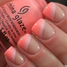Nude nails with light pink and coral diagonal French tips easy free hand nail art. Pretty!