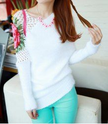$13.43 Casual Style Scoop Neck Solid Color Long Sleeve Openwork Rose Embroidery Design Acrylic Knitting Sweater For Women