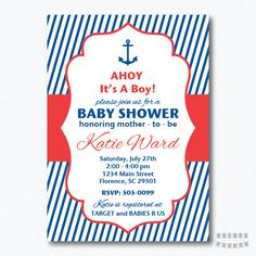 Para imprimir náutica bebé ducha muchacho por PrintsForYourEvents