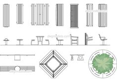 Benches - CAD Blocks, free dwg file.