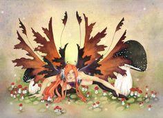 Fairy Art Print - A Mischievous Fairy - 5x7 - fantasy. whimsical. goth. red hair. illustration. girl.. $10.00, via Etsy.