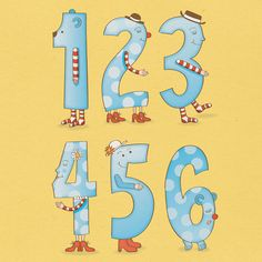 Numbers A3 Poster in Blue Printable DIY INSTANT by MookooDesign