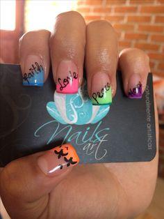 Nails art, acrylic nails. Neon colors.