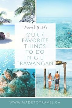 Gili Trawangan is an island beside Bali in Indonesia. Known for amazing beaches, scuba diving, and night life you are sure to fall in love with Gili T! Bali Travel Guide, Asia Travel, Gili Islands Bali, Gili T Island, Bali Lombok, Gili Trawangan, Venice Travel, Thailand, Cruise Vacation