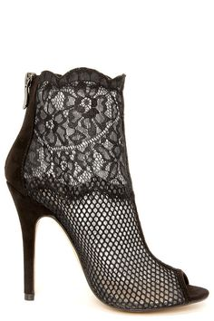 Chinese Laundry Jeopardy Black Fishnet Lace Booties #shoes #heels #booties