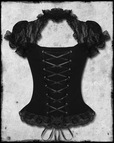 Hell Bunny Black Lace Steampunk Gothic Lolita Short Sleeve Nihilist Corset Top $58.85