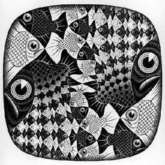 Fishes and Scales by MC Escher, 1959 Mc Escher, Escher Kunst, Escher Art, Escher Prints, Op Art, Willy Ronis, Escher Tessellations, Illustrations, Illustration Art