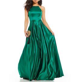 6167766c508 Jodi Kristopher High Neck Satin Ballgown. Junior Dresses