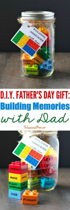 Love this super easy and clever gift for kids to make for their dad: a building memories jar! A great idea for boys to make for their dads!
