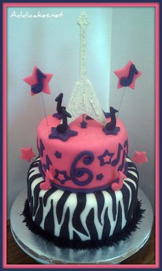 2 Tiered Girly Rockstar Cake