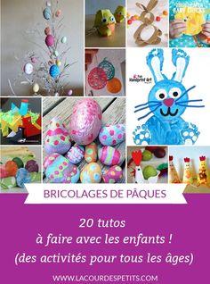Pour occuper les enfants voici plein d'idées de bricolages de Pâques pour tous les âges #paques #easter #eastercrafts #bricolagesdepaques #kidsactivities kidscraft #lacourdespetits