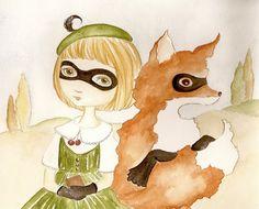Silent Partners Fox and Girl original painting by darklingwoods (Art & Collectibles, Drawing & Illustration, Fox, girl, mask, friends, secrets, watercolor, orange, gloves, whimsical, darkling woods, darklingwoods, cat mallard)