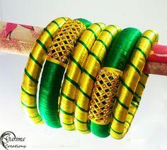 New Silk Thread Bangles Design - Indian Fashion Ideas Silk Thread Bangles Design, Silk Thread Necklace, Silk Bangles, Gold Bangles Design, Bridal Bangles, Thread Jewellery, Fabric Jewelry, Jewellery Diy, Accesorios Casual