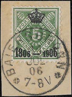+ 1906 Wurttemberg German States Centenary of Kingdom Ovp.#O9 O1 5pf Baiersbronn