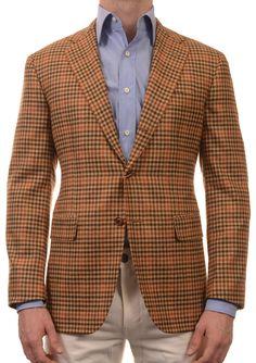 Sartoria PARTENOPEA Hand Made Brown Plaid Cashmere Jacket Sports Coat