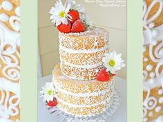 A fun twist on a naked cake, this cake is dressed in buttercream scrollwork!