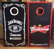 Jack Daniels/Budweiser Custom Made Corn hole Boards - These Cornhole boards are handcrafted, hand painted and custom made for each of our customers. Free set of cornhole bags are also provided for $179.99. They make great gifts for anyone for any occasion! We love custom orders and will make your team, theme or wedding. Contact us at www.fscustomcraft....