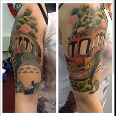 totoro&catbus tattoo