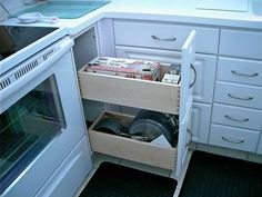 Kitchen shelf for small space. More ideas >>> http://www.geniushomeimprovements.com/