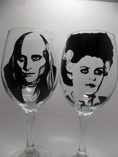 Riff Raff, Magenta, Painted Wine Glasses, Rocky Horror Picture Show. $38.00, via Etsy.