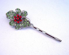 Sparkly Green and Red Rhinestone Flower Bobby Pin by BecaliJewels (Accessories, Hair, Bobby Pin, accessories, hair, bobby pin, rhinestone, rhinestones, Swarovski rhinestone, silver tone metal, metal, flower, flower designed, red, green, glass)