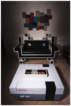 This SPACE INVADER Couch / NES Coffee Table is Perfect for Any Game Room