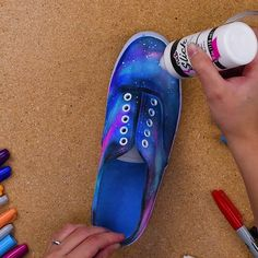 BabyFirstTV is annoying AF, but these shoes look amazing... Jump into space with this DIY Galaxy shoes!