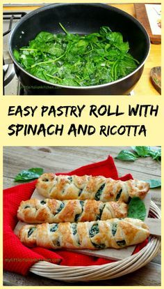 Super tasty easy puff pastry roll with a filling of ricotta and spinach. Great as a light lunch or a snack. Spinach Puff Pastry, Savory Pastry, Puff Pastry Recipes, Puff Pastries, Puff Recipe, Vegetable Dishes, Vegetable Recipes, Vegetarian Recipes, Cooking Recipes