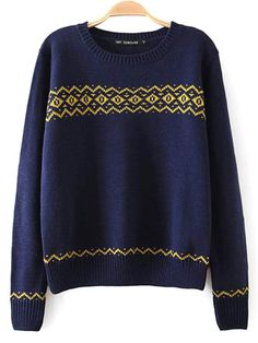 Vintage Geometry Print Long Sleeve Round Neck Knitting Pullover Sweater - Gchoic.com
