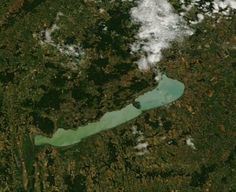 Satellite view of Lake Balaton in western Hungary, the largest lake in central Europe.