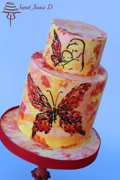 The Butterfly Project - EB Awareness - cake by Jennifer Kennedy O'Friel - Sweet JennieD Butterfly Project, Hand Painted Cakes, Gorgeous Cakes, Gum Paste, Cake Art, Cookie Decorating, Cake Toppers, Fondant, Daily Inspiration