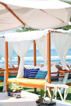 Canopy lounging for this beachfront pre-wedding brunch in Punta Mita, Mexico at the Four Seasons Hotel