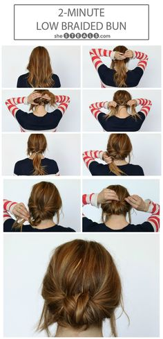 low, braided bun.