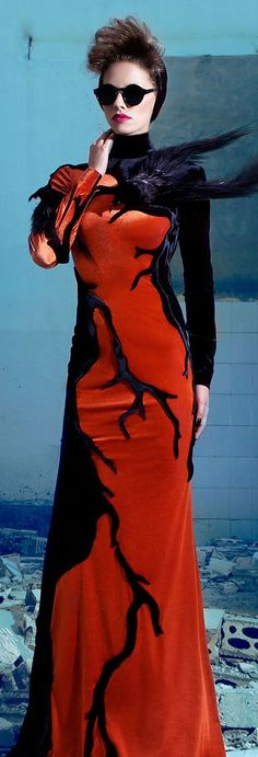 Nicolas Jebran Couture F/W 2013 - red and black gown