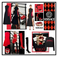 """VERSACE RED & BLACK"" by whirlypath ❤ liked on Polyvore featuring Versace, women's clothing, women's fashion, women, female, woman, misses and juniors"