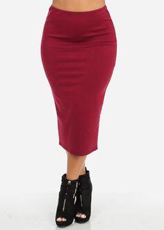 High Waisted Midi Skirt (Burgundy)