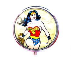 Pill Box  Pill Organizer  Wonder Woman Pill Box by TwoRoadsDesigns, $12.50