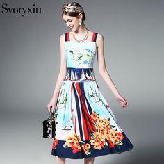 2017 Runway Designer New Summer Spaghetti Strap Dress Women's Vintage Floral Print Pleated Dress  #Affiliate