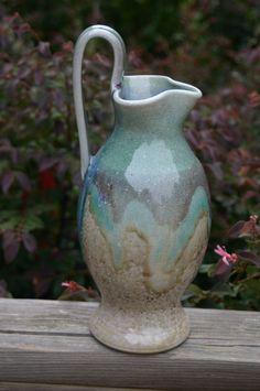 Salt Glazed  Pottery Rebekah Pitcher with Copper by Beaverspottery, $55.00