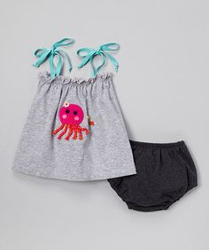 Look what I found on #zulily! Silver Octopus Tank & Charcoal Diaper Cover - Infant by Victoria Kids #zulilyfinds