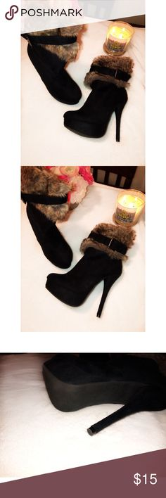 Faux fur High Heels Boots Never worn brand new. size 7 good for the winter ❄️ super cute and fashionable Shoes Heeled Boots